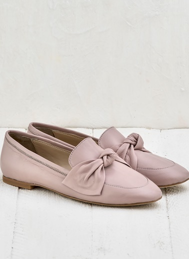 Elle %100 Deri Loafer Ayakkabı Pudra